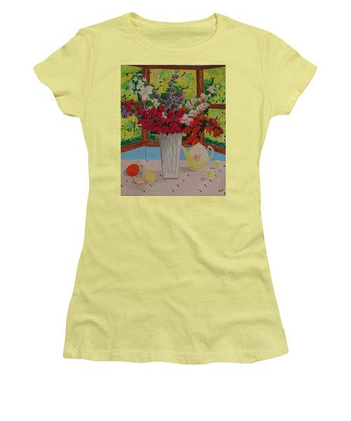 Women's T-Shirt (Junior Cut) featuring the painting Tea Time by Hilda and Jose Garrancho