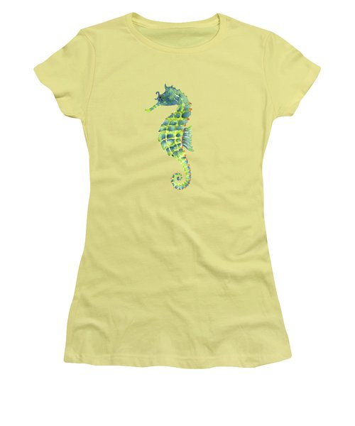 Teal Green Seahorse Women's T-Shirt (Junior Cut) by Amy Kirkpatrick