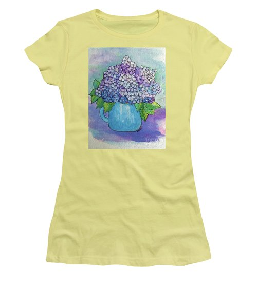 Women's T-Shirt (Junior Cut) featuring the painting Teapot Hydranger by Rosemary Aubut