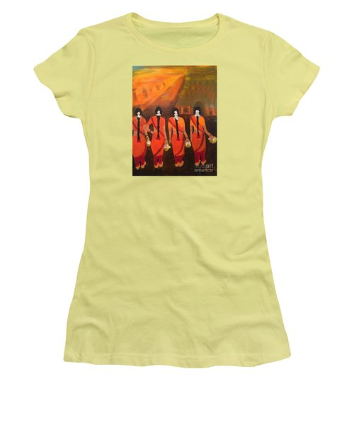 Women's T-Shirt (Junior Cut) featuring the painting Temple Dancers by Brindha Naveen