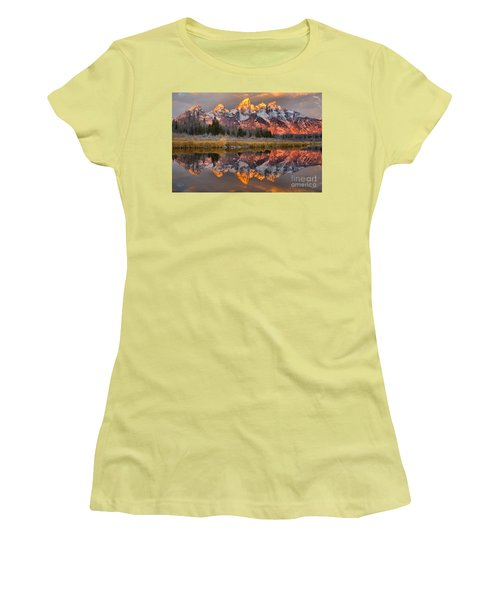 Teton Mountains Sunrise Rainbow Women's T-Shirt (Junior Cut) by Adam Jewell