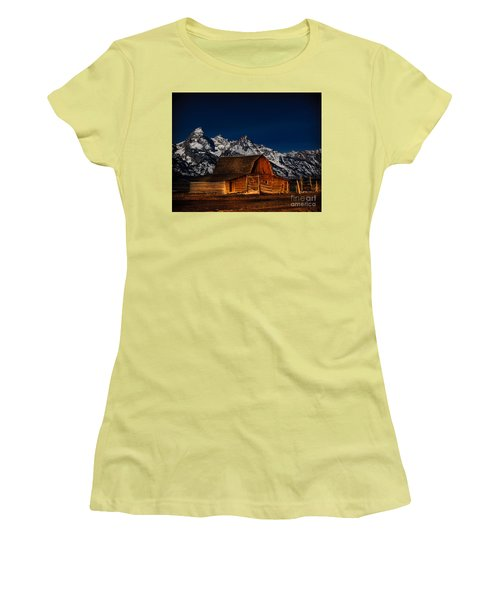 Teton Mountains With Barn Women's T-Shirt (Athletic Fit)