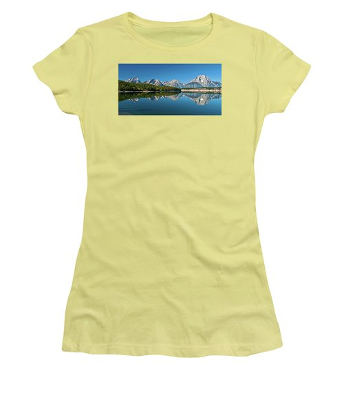 Women's T-Shirt (Athletic Fit) featuring the photograph Teton Reflections II by Gary Lengyel