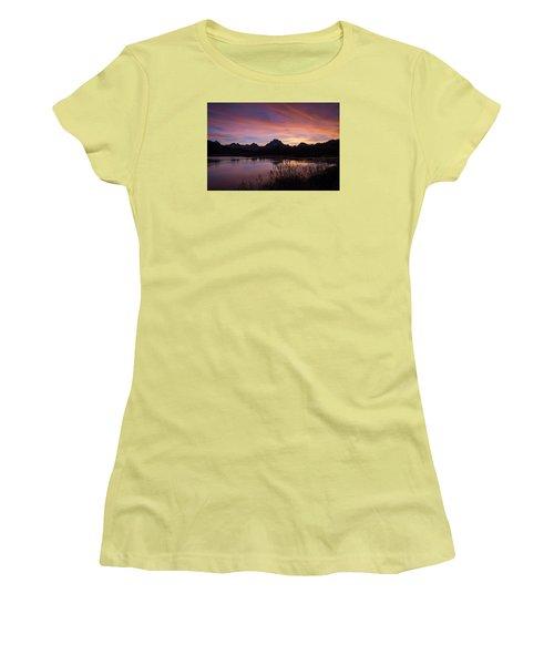 Women's T-Shirt (Junior Cut) featuring the photograph Teton Sunset by Gary Lengyel