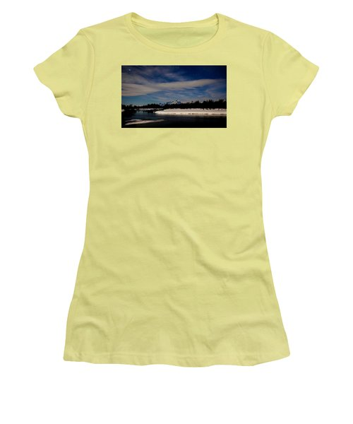 Tetons At Moonlight Women's T-Shirt (Athletic Fit)