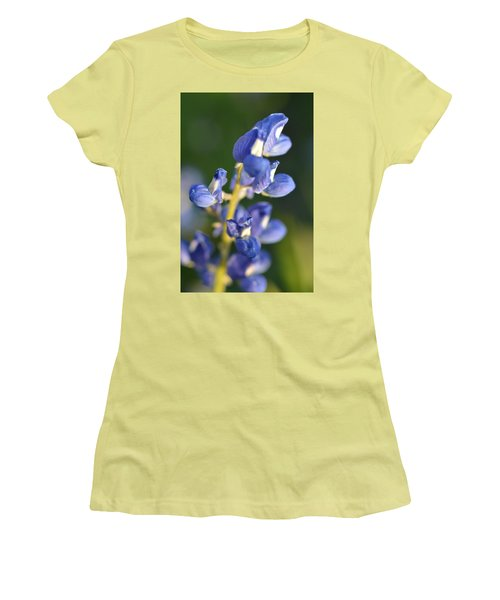 Women's T-Shirt (Junior Cut) featuring the photograph Texas Blue Bonnet Details 1 by Carolina Liechtenstein