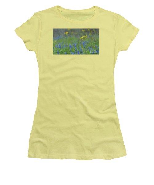 Texas Field With Blue Bonnets Women's T-Shirt (Junior Cut) by Carolina Liechtenstein