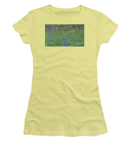 Texas Field With Blue Bonnets Women's T-Shirt (Athletic Fit)