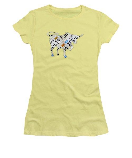 Texas Longhorn Vintage License Plate Art On Blue Gray Barn Wood Women's T-Shirt (Junior Cut) by Design Turnpike