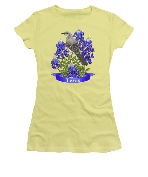 Texas State Mockingbird And Bluebonnet Flower Women's T-Shirt (Junior Cut) by Crista Forest