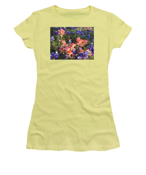 Women's T-Shirt (Junior Cut) featuring the painting Texas Wildflowers by Karen Kennedy Chatham