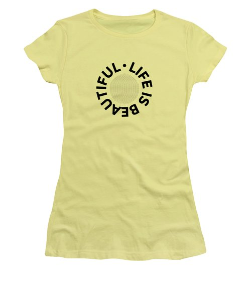Text Art Life Is Beautiful - Carpe Diem Women's T-Shirt (Athletic Fit)