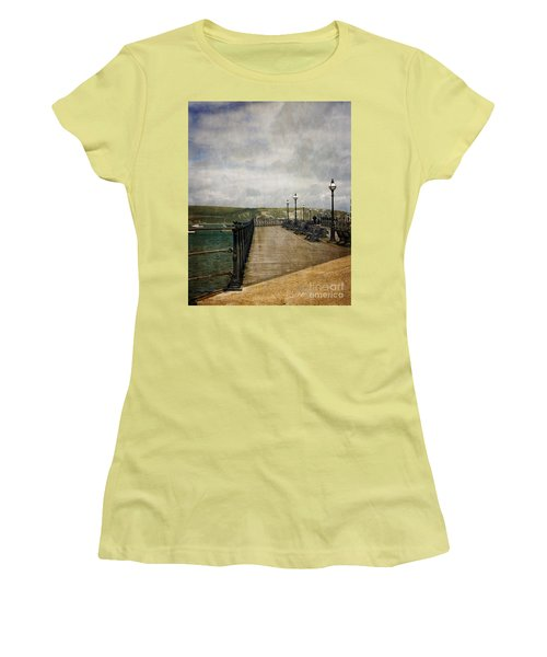 Women's T-Shirt (Junior Cut) featuring the photograph Textures On Swanage Pier by Linsey Williams