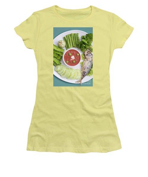 Women's T-Shirt (Junior Cut) featuring the photograph Thai Chili Paste by Atiketta Sangasaeng