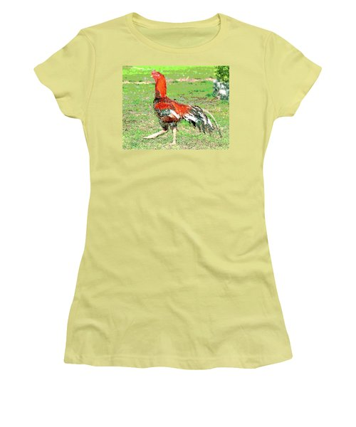 Thai Fighting Rooster Women's T-Shirt (Junior Cut) by Charles Shoup