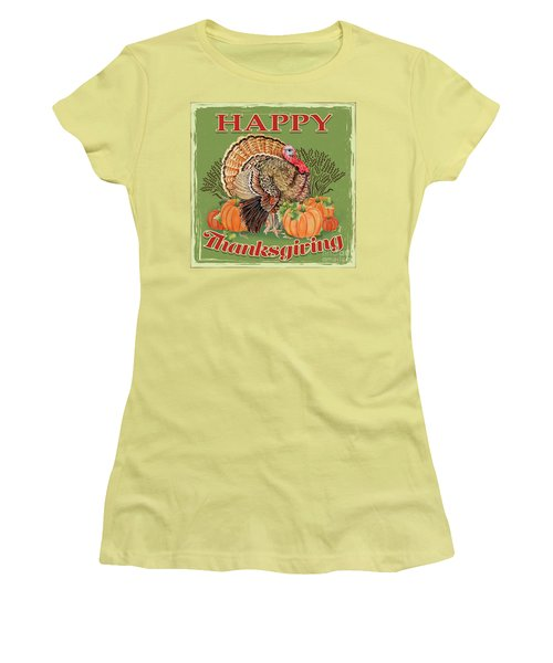 Women's T-Shirt (Junior Cut) featuring the painting Thanksgiving-b by Jean Plout