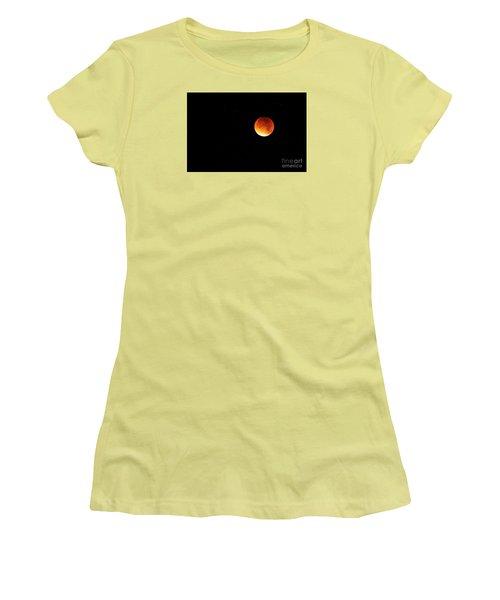 Women's T-Shirt (Junior Cut) featuring the photograph The 2015 Blood Moon  by Gary Bridger