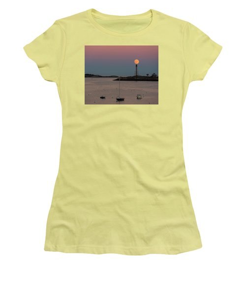 The 2016 Supermoon Balancing On The Marblehead Light Tower In Marblehead Ma Women's T-Shirt (Athletic Fit)