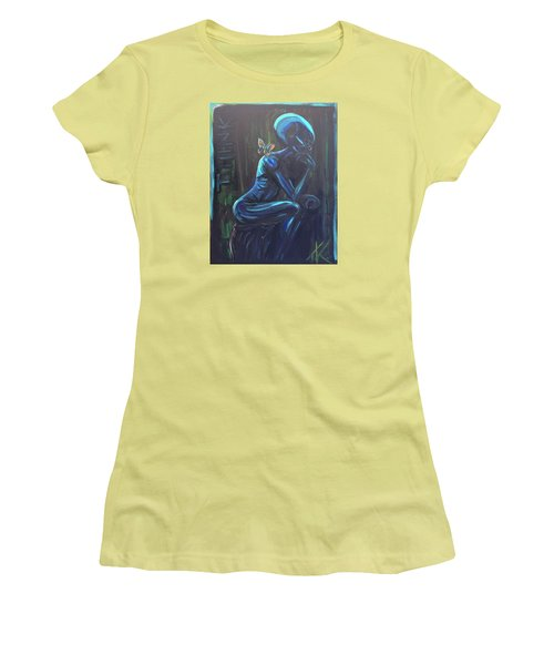 Women's T-Shirt (Junior Cut) featuring the painting The Alien Thinker by Similar Alien