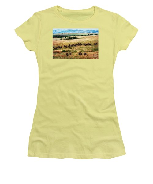 The American Bison Herd Women's T-Shirt (Athletic Fit)