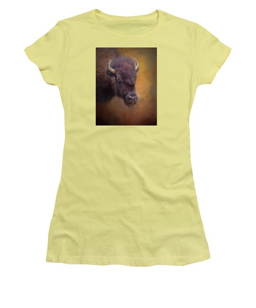 The American Bison II Women's T-Shirt (Junior Cut) by David and Carol Kelly