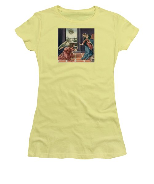 The Annunciation After Botticelli Women's T-Shirt (Junior Cut) by Yvonne Wright