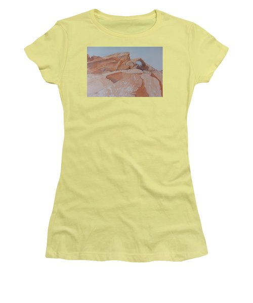 Women's T-Shirt (Athletic Fit) featuring the painting The Arch Rock Experiment - Vii by Joel Deutsch