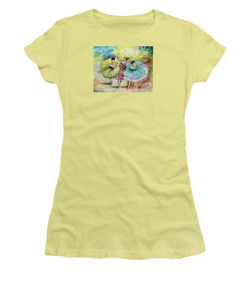 Women's T-Shirt (Junior Cut) featuring the painting The Ballerina Dancers by Elizabeth Robinette Tyndall