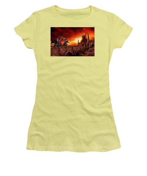 Women's T-Shirt (Junior Cut) featuring the painting The Battle For The Crystal Castle by James Christopher Hill