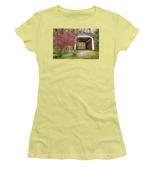 Women's T-Shirt (Junior Cut) featuring the photograph The Beeson Covered Bridge by Harold Rau