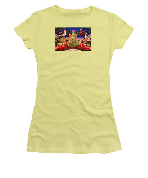 Women's T-Shirt (Junior Cut) featuring the photograph The Bellagio Christmas Tree 2015 by Aloha Art