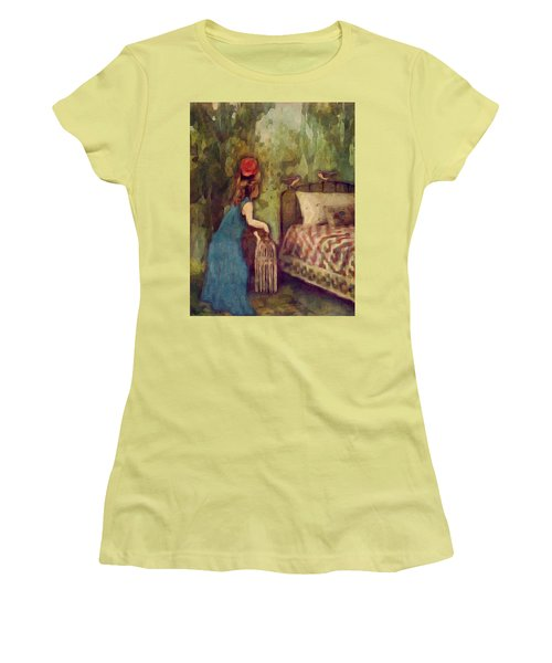 Women's T-Shirt (Junior Cut) featuring the digital art The Bird Catcher by Lisa Noneman