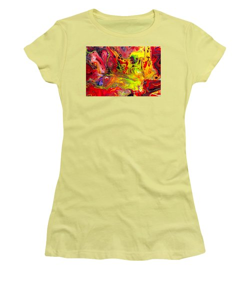The Birth Of Diamonds - Abstract Colorful Mixed Media Painting Women's T-Shirt (Junior Cut) by Modern Art Prints