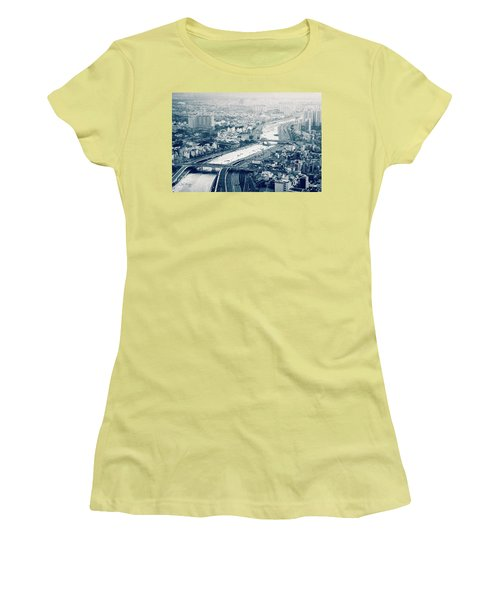 Women's T-Shirt (Athletic Fit) featuring the photograph The Bisection Of Saigon by Joseph Westrupp