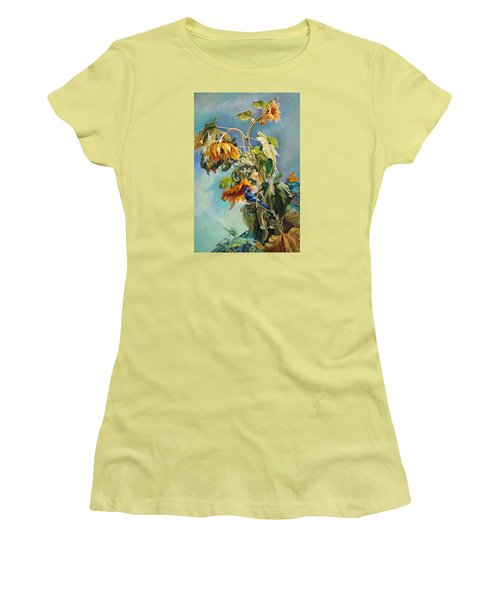 Women's T-Shirt (Junior Cut) featuring the painting The Blue Jay Who Came To Breakfast by Svitozar Nenyuk