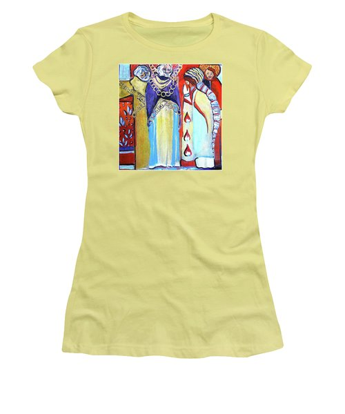 Women's T-Shirt (Junior Cut) featuring the painting The Chains That Bind Us To Christ by Mindy Newman