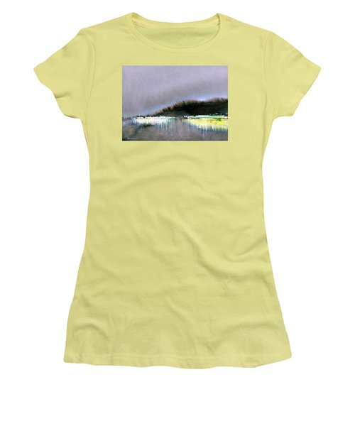 Women's T-Shirt (Junior Cut) featuring the painting The City Lights by Ed Heaton