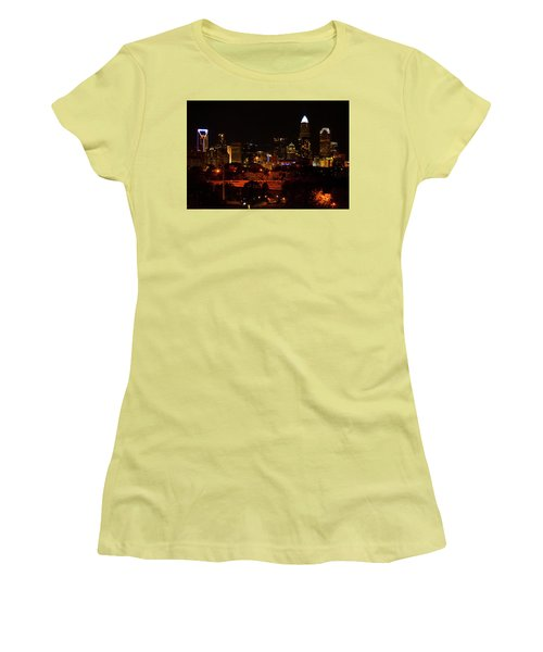 Women's T-Shirt (Junior Cut) featuring the digital art The City Of Charlotte Nc At Night by Chris Flees