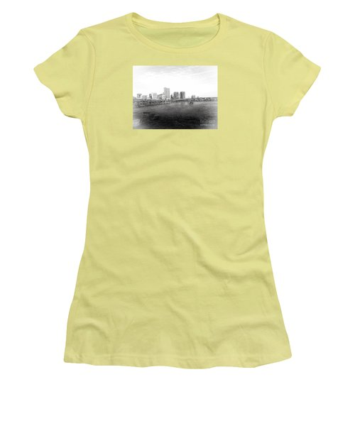 The City Of Richmond Black And White Women's T-Shirt (Junior Cut) by Melissa Messick