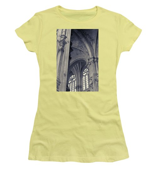 Women's T-Shirt (Athletic Fit) featuring the photograph The Columns Of Saint-eustache, Paris, France. by Richard Goodrich