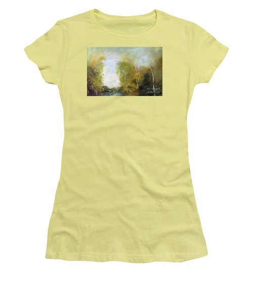 Women's T-Shirt (Athletic Fit) featuring the painting The Creek by Marlene Book