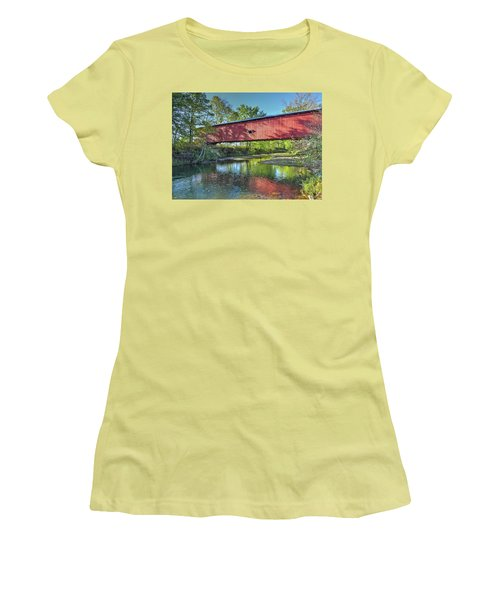 Women's T-Shirt (Junior Cut) featuring the photograph The Crooks Covered Bridge - Sideview by Harold Rau