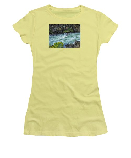 Women's T-Shirt (Junior Cut) featuring the photograph The Deschutes River At Dillon Falls by Nancy Marie Ricketts