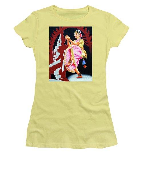 Women's T-Shirt (Junior Cut) featuring the painting The Divine Dance Of Bharatanatyam by Ragunath Venkatraman