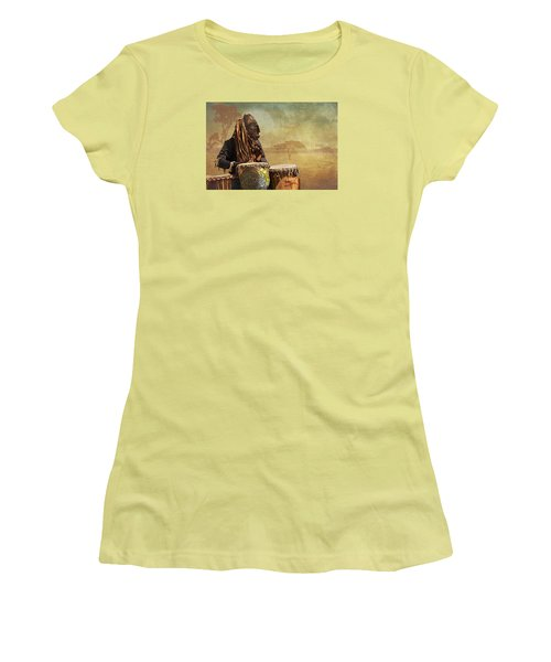 The Dream Of His Drums Women's T-Shirt (Junior Cut) by Christina Lihani