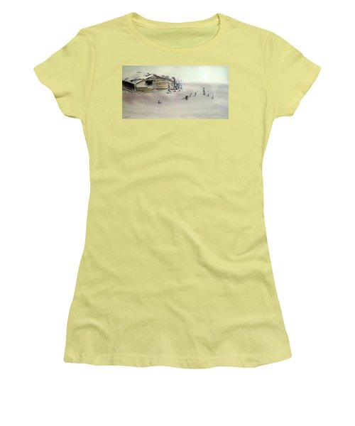 Women's T-Shirt (Junior Cut) featuring the painting The Dustbowl by Ed Heaton