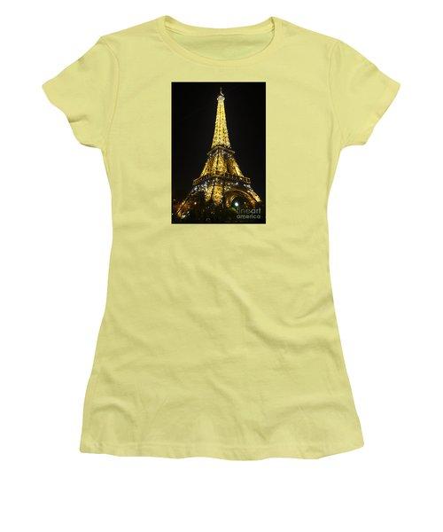 The Eiffel Tower At Night Illuminated, Paris, France. Women's T-Shirt (Junior Cut) by Perry Van Munster
