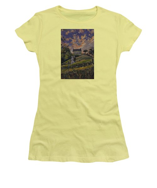 Women's T-Shirt (Junior Cut) featuring the painting The Evening Stroll Around The Hoeve Zonneberg by Nop Briex