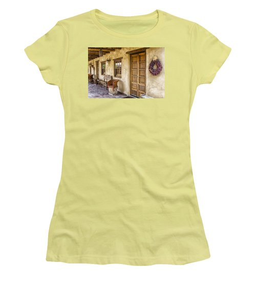 Women's T-Shirt (Junior Cut) featuring the tapestry - textile The Gage Hotel by Kathy Adams Clark