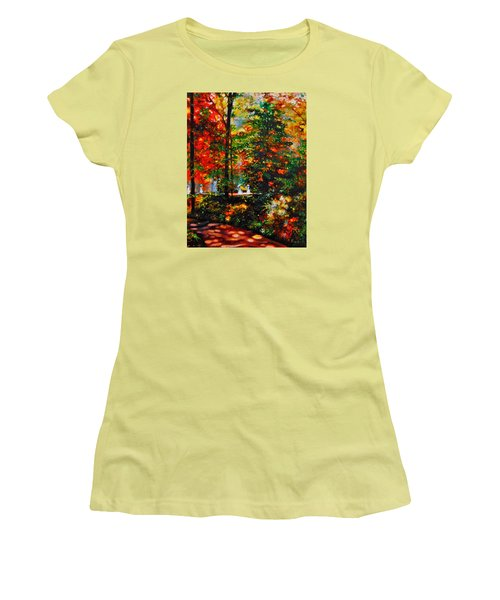 Women's T-Shirt (Junior Cut) featuring the painting The Garden by Emery Franklin